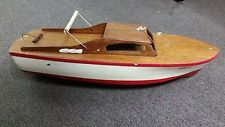 Vintage 1950S motor Operated Power pond Cruiser Speed Boat Wood Model Toy
