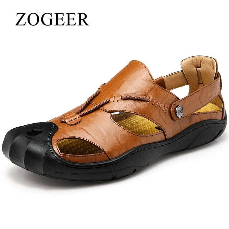 ZOGEER Big Size 38 46 Mens Sandals, Men Leather Sandals, Breathable Summer  Beach