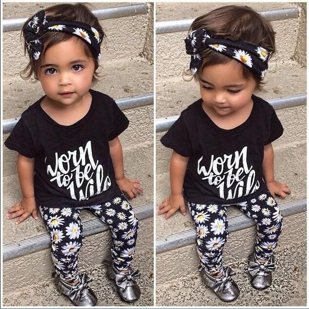 The new 2016 summer baby girl clothes 3 pcs / pack Flower Band T-shirt pants baby clothing sets baby girl 3 piece suit