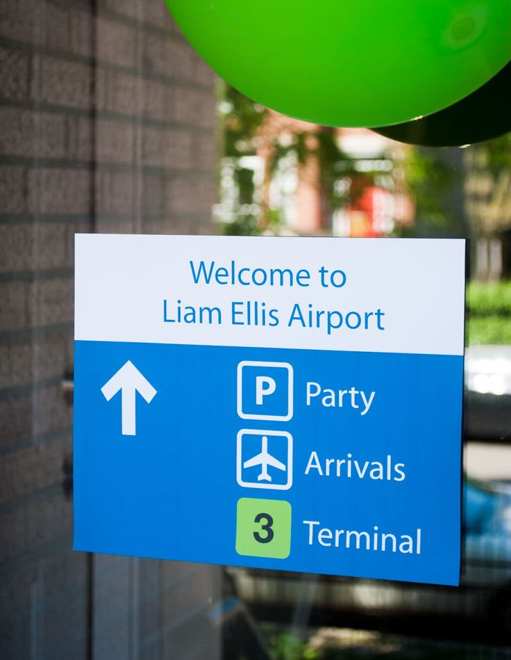 Get 8 printable airport signs (Welcome to Airport, Baggage Claim, Concessions, Restrooms, VIP Lounge, more) for easy airplane birthday party decorations.