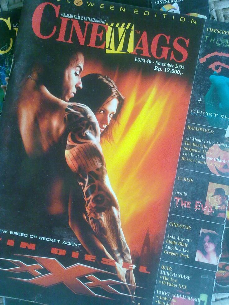 Majalah CINEMAGS edisi 40 - November 2002, Rp. 17.500,- 82 halaman. Cover XXX film aksi keras dari Vin Diesel yang ngehits di pertengahan tahun 2002. Juga membahas The Transporter, Ghost Ship dan film- film bertema Halloween.