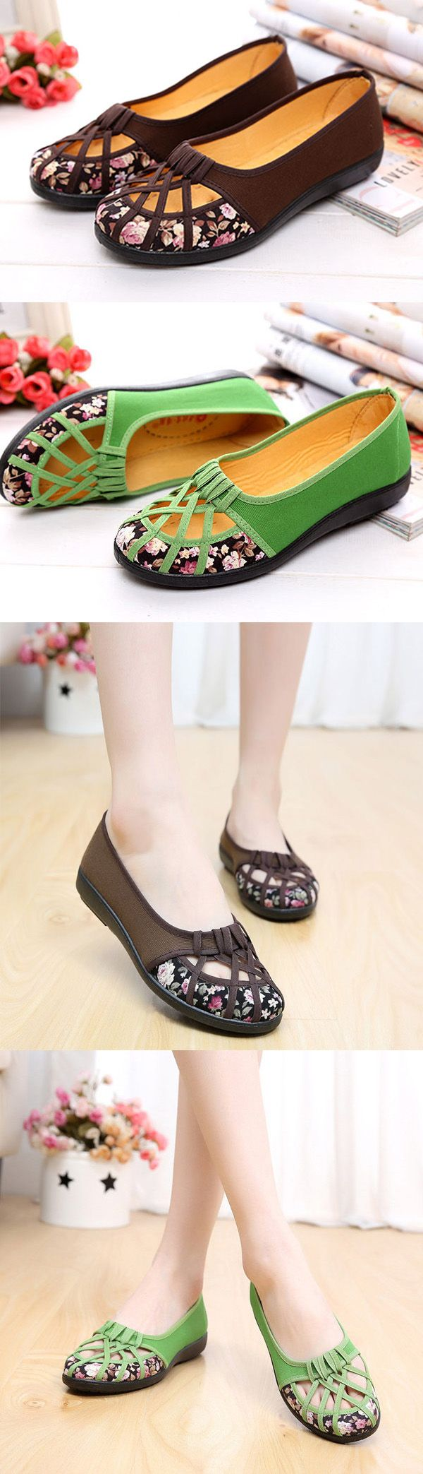 US$11.03 Hollow Out Flower Print Breathable Slip On Flat Loafers_Flower Shoes_Summer Outfits