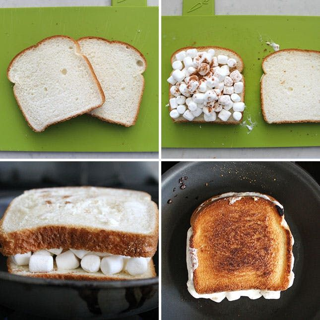 Smores Lovers Rejoice! Nutella Hot Chocolate + Marshmallow Sandwiches via Brit + Co