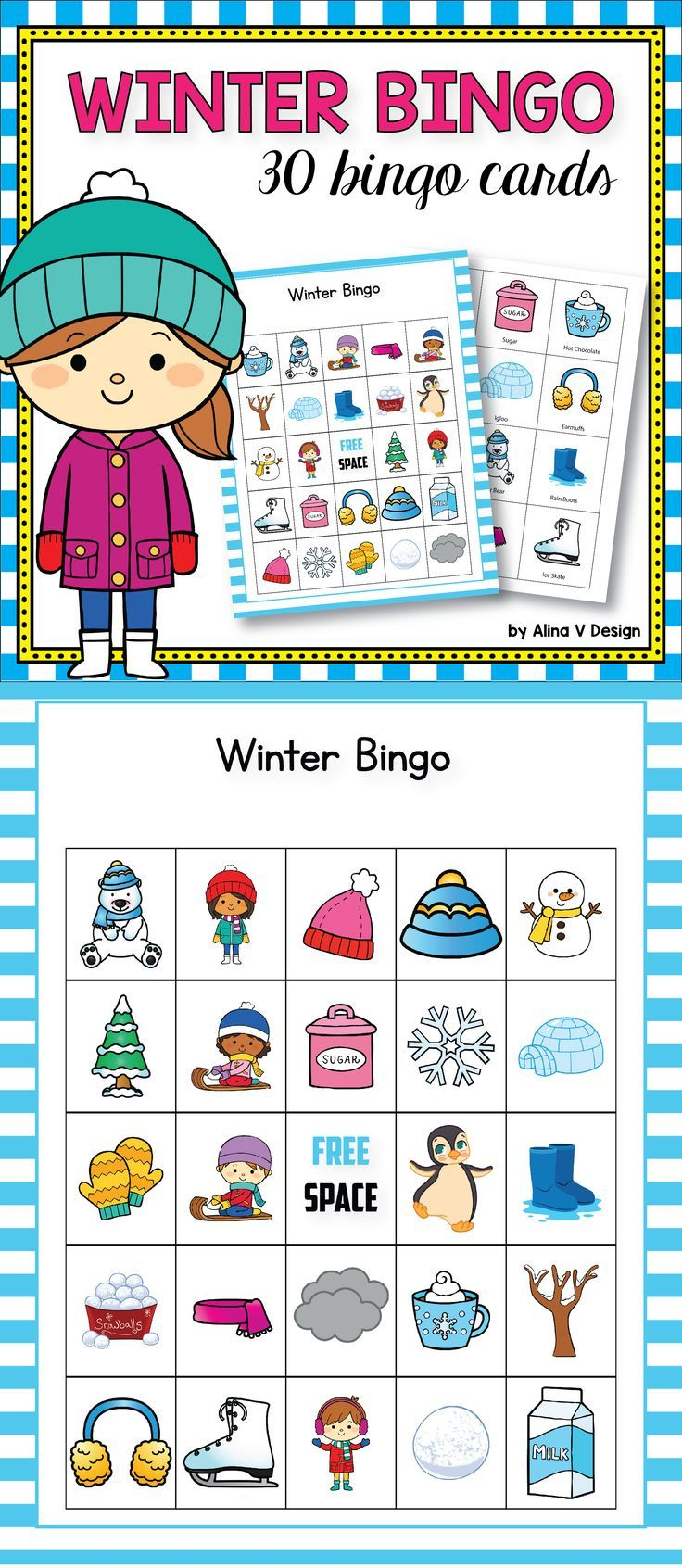 graphic regarding Winter Bingo Cards Free Printable titled Wintertime Bingo Activity - Winter season Actions for Kindergarten