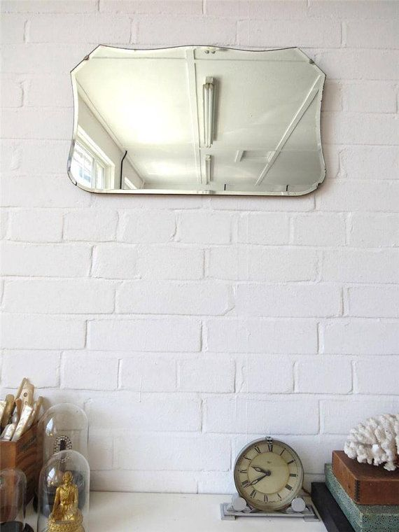 Vintage Bevelled Edge Wall Mirror Original Art Deco by uulipolli