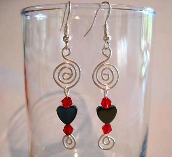 Pierced Heart Spiral Earrings Hematite by ArianrhodWolfchild, $10.00