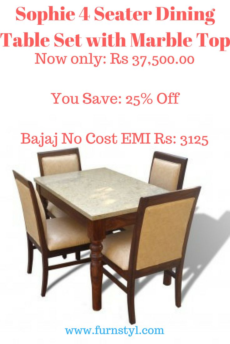 Sophie 4 Seater Dining Table Set With Marble Top Furnstyl Furnstylblog Furniture Furnitu Buy Home Furniture Luxury Furniture Showroom 4 Seater Dining Table