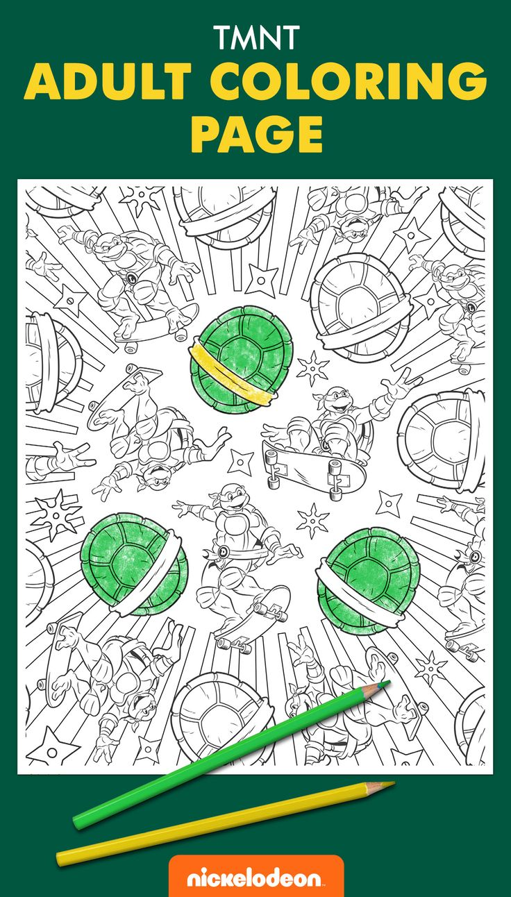 Print a sample of the all-new Teenage Mutant Ninja Turtles adult coloring book and get ready for hours of shell-shocking fun!