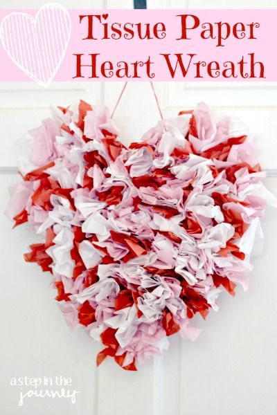 Quick, easy, and cheap Valentines decor! DIY Tissue paper Valentines heart....great craft for kids too!