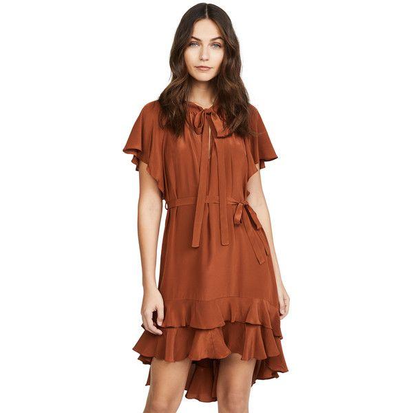 Zimmermann Flutter Smock Dress ($500) ❤ liked on Polyvore featuring dresses, bronze, short brown dress, mini dress, tie neck dress, short dresses and short-sleeve dresses