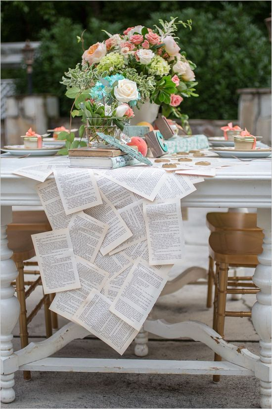 DIY wedding project: learn how to make your own vintage book table runner (without tearing up books)