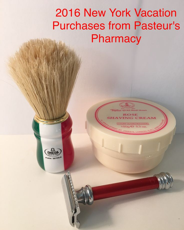 Merkur 38 Red Barber Pole, Omega boar hair brush and Rose, Taylor of Old Bond Street