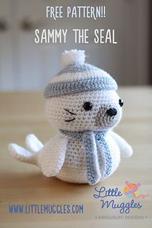 Sammy is an adorable little seal pup! When made with the indicated yarn and hook size, he is approximately 6.5 inches tall (not including hat) and 6.5 inches long.