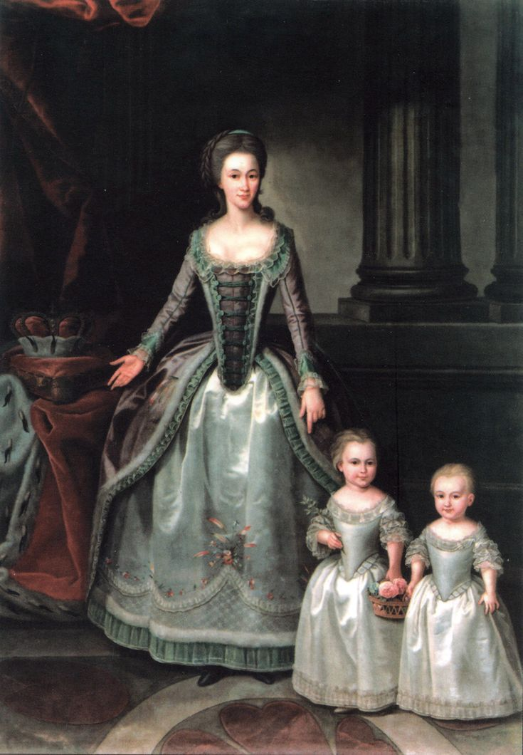 Dorothea with her daughters, Wilhelmine and Pauline, 1783, by an unknown artist.