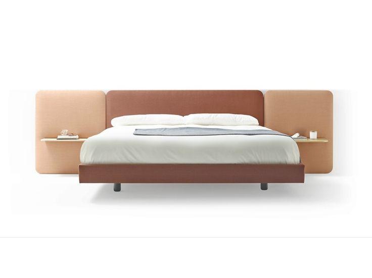Fabric double bed with upholstered headboard LOTA by TREKU design Ibon Arrizabalaga
