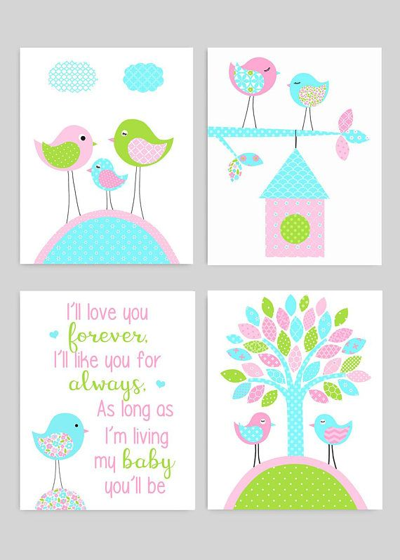 i ll love you forever aqua and pink bird nursery decor baby girl rh pinterest es
