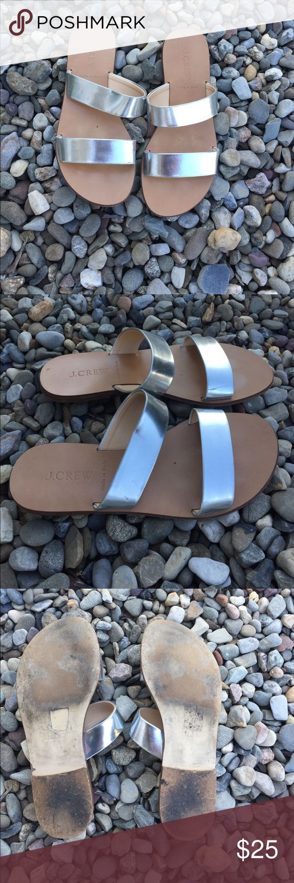 Jcrew silver flat sandals Metallic silver and leather sandals, in good condition! jcrew Shoes Sandals