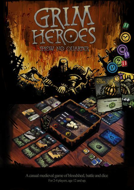Grim Heroes is the third game to feature the DiceQuest game system designed by Simon McGregor, the dice-engine behind Ancient Terrible Things (ATT). The game builds on the dice system introduced in ATT, expanding that popular dice mechanic to include: Semi co-operative play through the introduction of the Traitor player. 3D Fortress game-box, with a unique raised dice-tray , allowing for an immersive board game experience, and contained dice rolling. Siege ladders, boiling oi...
