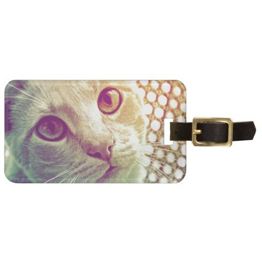 Cat Portrait Love and Devotion Luggage Tag, with leather strap for bags. Contact info on the back side! #fomadesign