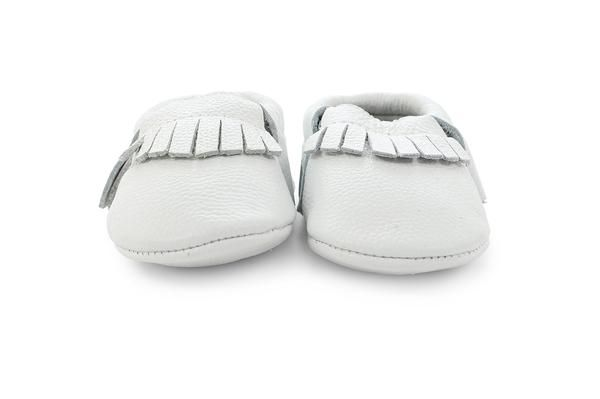 white leather baby mocassins