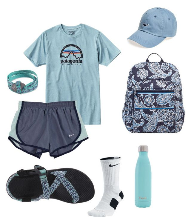 """""""I have to wake up earlier for tutoring"""" by essie01 ❤ liked on Polyvore featuring Patagonia, NIKE, Vera Bradley, Chaco, S'well and Vineyard Vines"""