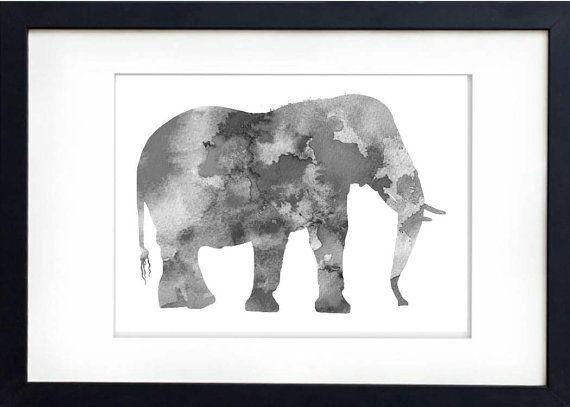 Grey Elephant  Watercolour Archival Print  por PreciousPearlPrints