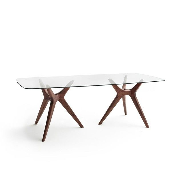 Table Rectangulaire Verre Noyer Maricielo Table Salle A Manger