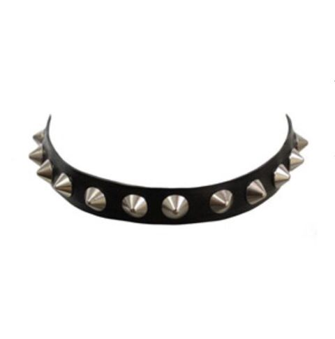 #Manokhi black leather choker with silver spikes