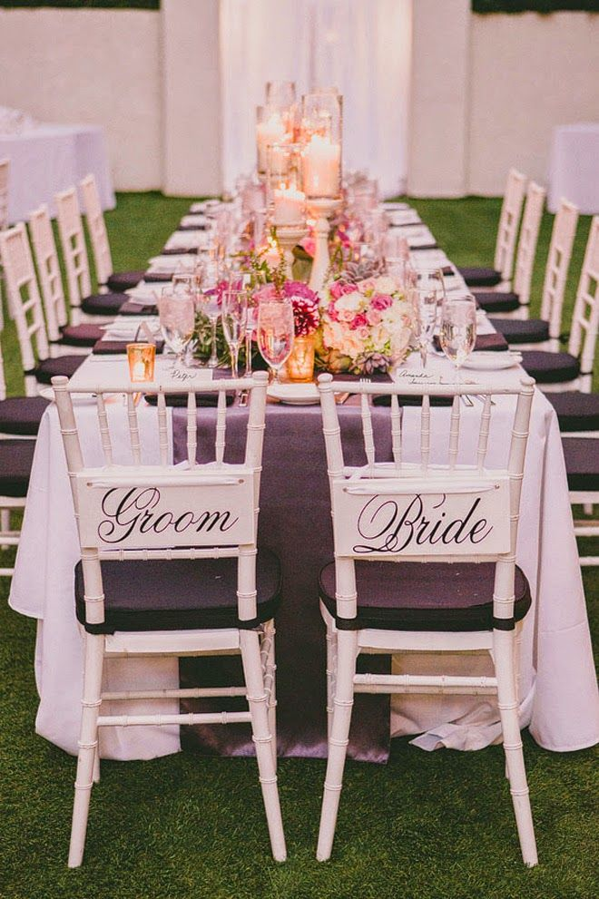 long table setup wedding reception%0A elegant groom and bride chair  photo by Dave Richards