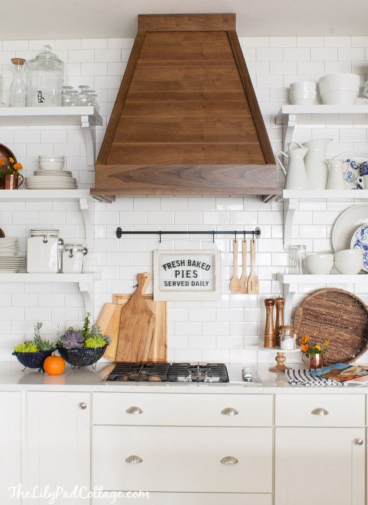 White Cottage Kitchen fall decor by The Lilypad Cottage