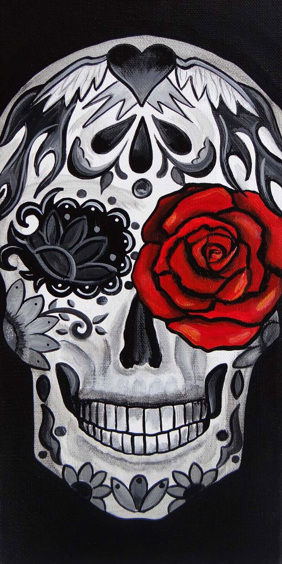 Red Rose Day of the Dead Art by Melody Smith by UrbanArtByMelody