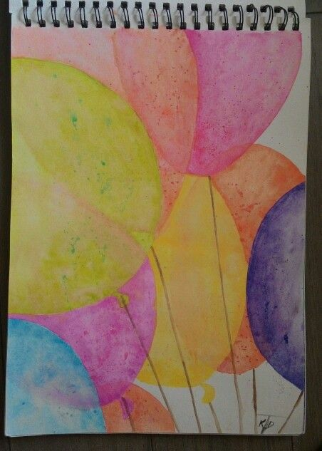 Balloons on Artex Watercolor, 10x14 inch watercolor paper.