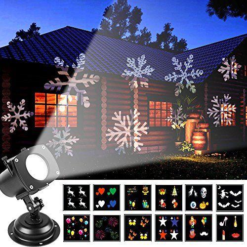 12+1 Lentes con Imágenes Diferentes, calabazas, cráneos, fantasmas y globos del ojo/fuegos artificiales/copos de nieve/corazones/muciélagos y bruja/globos colores/mariposas/Dior Perfume, labio, lápiz labial y zapatos de tacón alto/payaso, sombrero, bigote y globo/pastel de cumpleaños y paquete de regalo/Papá Noel y árbol de Navidad/estrellas/alces, se cambian libremente y fácilmente entre sí mismos. 3 Modos de Luz: Flash Rápido+Flash...