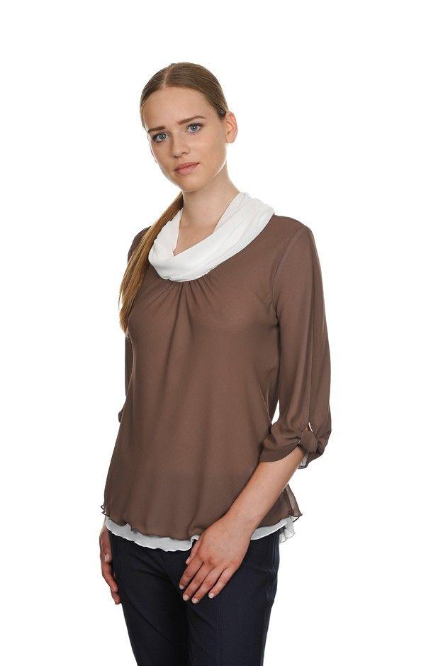 Blusa doppio tessuto a contrasto bianco e marrone, collo ad anello e manica 3/4 con nodo   DONNA AI 15-16