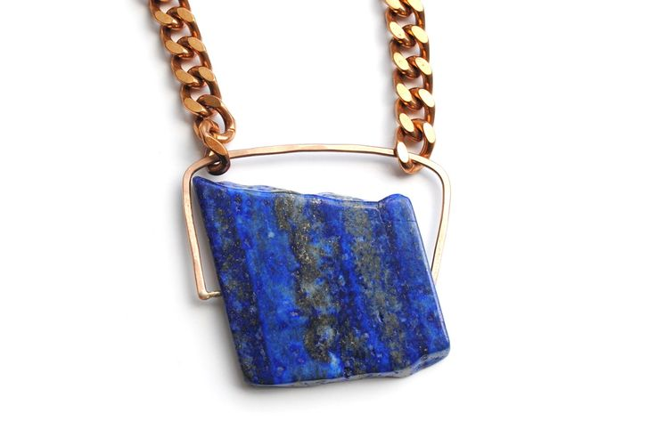 Vintage brass chain with stunning lapis stone Hand formed bronze settingHandmade hook