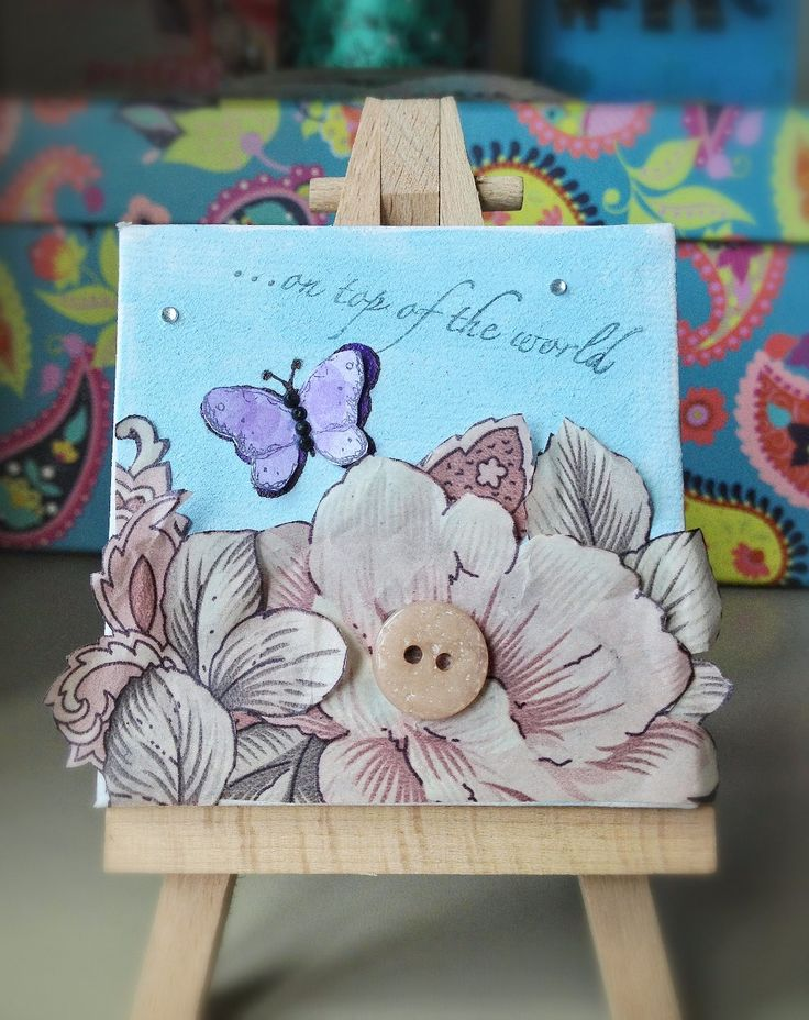 Cute as a Button's Emporium Original Mini Mixed Media Canvas