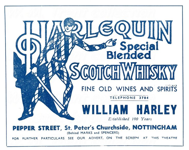 From Nottingham in 1936 an advertisement for Harlequin Scotch Whisky.