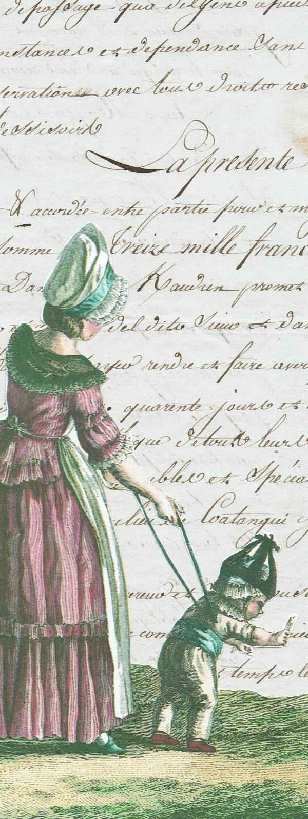 Antique letter with fashion plate Trouvais The