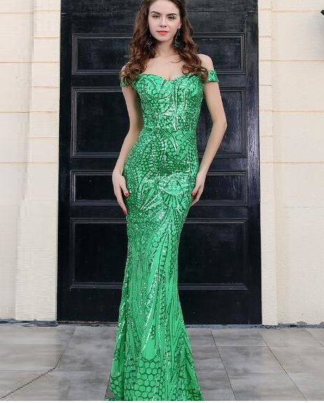 9dd646187c6182 new arrivals elegant green sequins women gown with off shoulder design  celebrity party show outfit long dress wholesale online