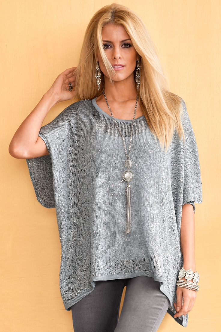 Add sparkle & shine to your look today with the Glitz-and-Glamour Sweater! Available at www.bostonproper.com #bostonproper #sweater #shadesofgray #sparkleandshine #winter