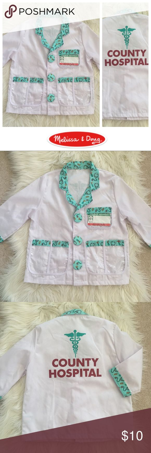"""Doctor's Role-Play Jacket (Age 3-6) Adorable Melissa and Doug doctor's white coat for dress up play -- clean name tag. """"County Hospital"""" on the back. Tag says ages 3-6. Bundle to save even more! Hope you enjoy 😘 Obviously unisex but I picked girl :) NOT Mini Boden -- just for visibility! Mini Boden Accessories"""