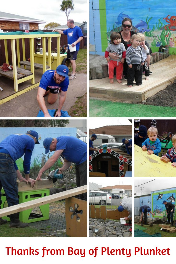 Thank you to our helpers who built a deck for our sand pit and turned our worn out whare, toy box, black board and fence into bright pieces of art with a lick of paint. #ClosedForGood2015