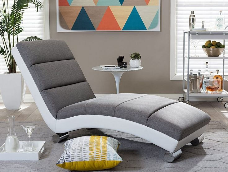 baxton studio percy modern grey fabric and white faux leather upholstered chaise lounge chair