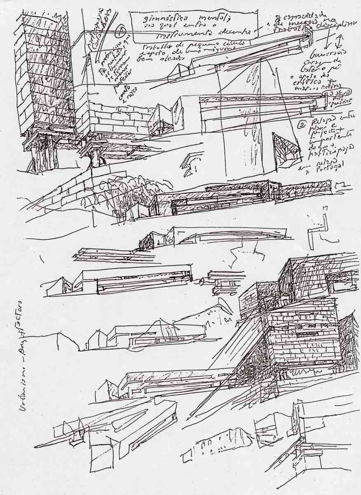 "Alvaro Siza, Galician Center for Contemporary Art, Santiago de Compostela, Spain. Sketch from the book ""Architect's Drawings: A Selection Of Sketches By World Famous Architects"" by Kendra Schank Smith"