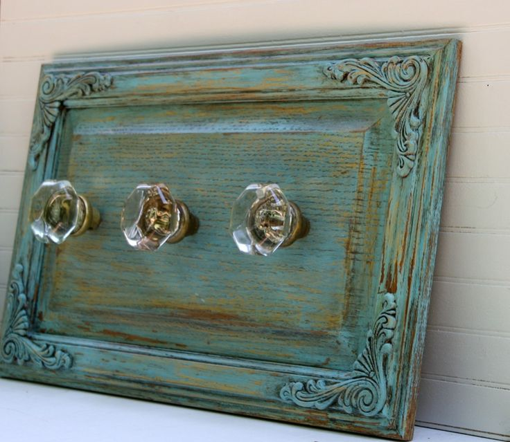 repurposeing cabinet doors | Coastal Cottage Blue Wall Rack with Antique Glass by funkiefinds