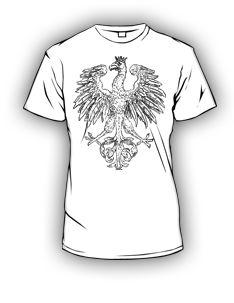 Koszulka patriotyczna przedstawiająca orła polskiego pochodzącego z 1917 roku. Koszulki patriotyczne z godłem narodowym