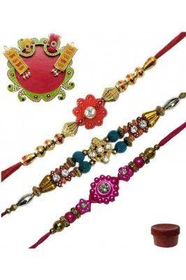 Make your bond stronger on this raksha bandhan festival with this Zestful Thread Set of 3 Fancy Rakhis with Thali #rakhionline #gifthamper #onlinerakhihampers #rakshabandhan Shop now-  https://trendybharat.com/festival/rakhi-gifts/rakhi-online/zestful-thread-set-of-3-fancy-rakhis-with-thali-rob17228