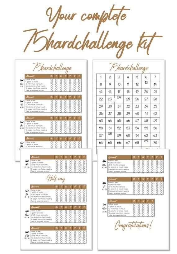 Printable 75 Hard Challenge Habit Tracker Checklist Etsy Habit Tracker Printable Habit Tracker Habits