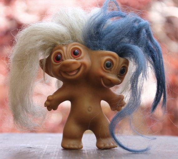 Hey, I found this really awesome Etsy listing at http://www.etsy.com/listing/154381956/rare-vintage-2-headed-troll-doll-by