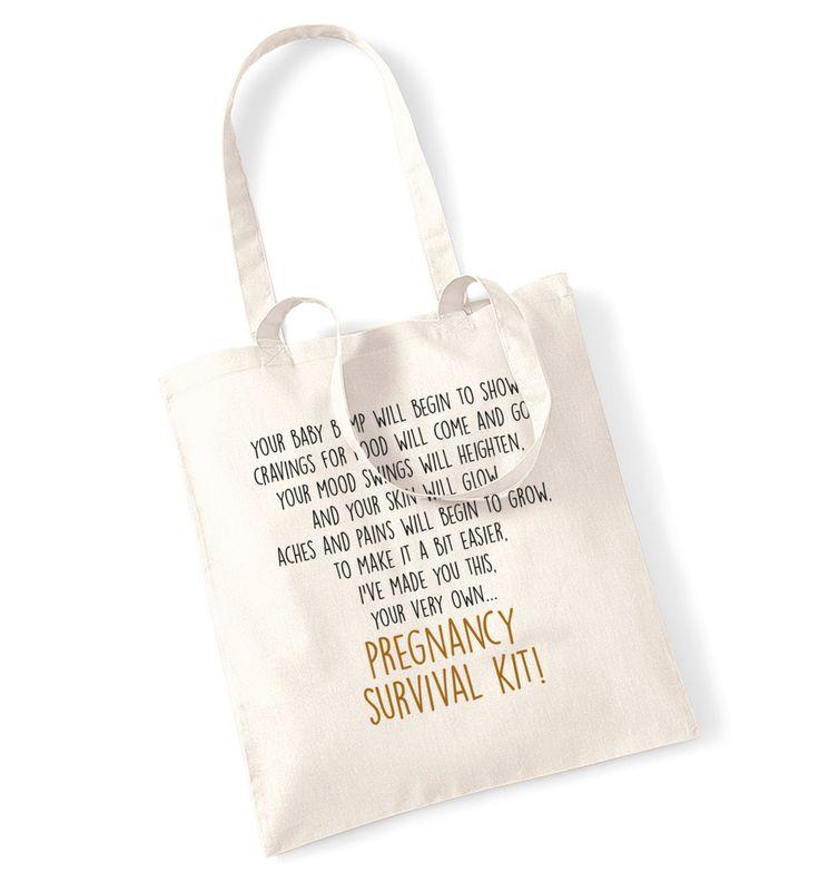 New to FloxCreative on Etsy: Pregnancy survival kit poem tote bag baby shower announcement daughter friend sister hospital birth newborn gift favour keepsake sentimental (7.99 GBP)